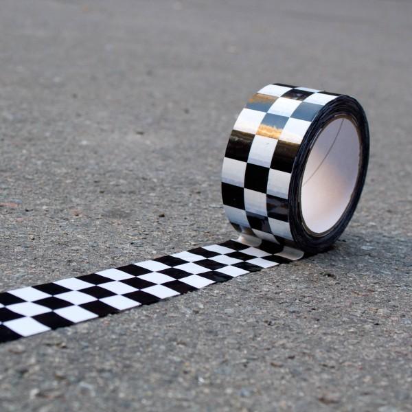 Checker Tape Klebeband, Karomuster schwarz/weiß 66m