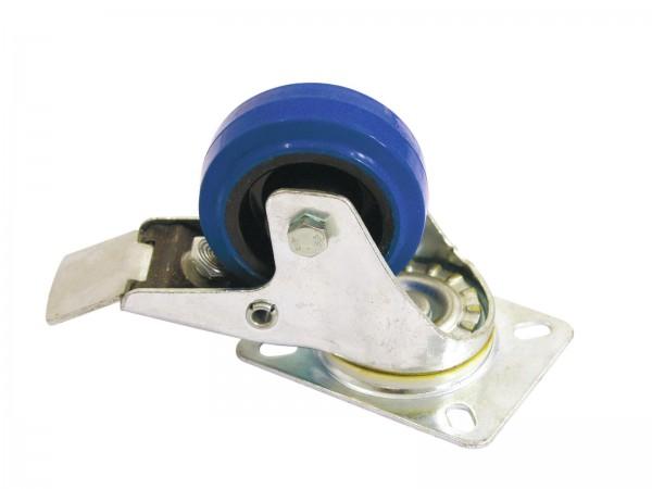Lenkrolle 80mm mit Bremse blau