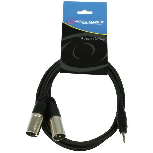Accu Kabel 1x 3,5 Klinkestecker stereo -> 2 x XLR male